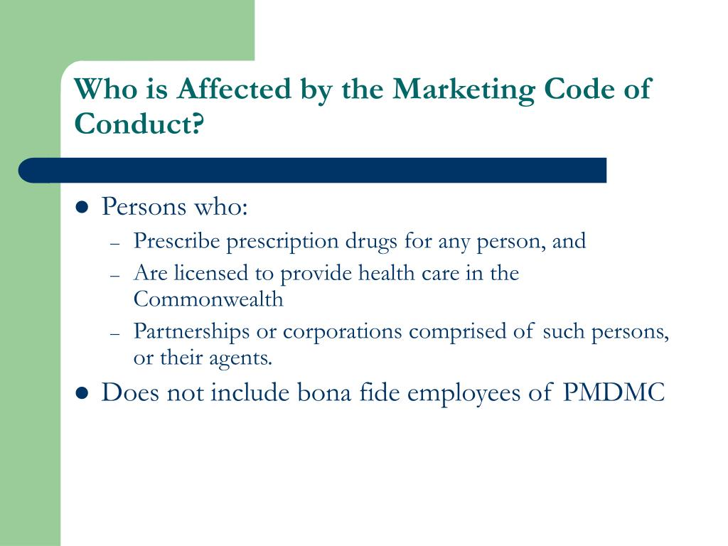 Who is Affected by the Marketing Code of Conduct?