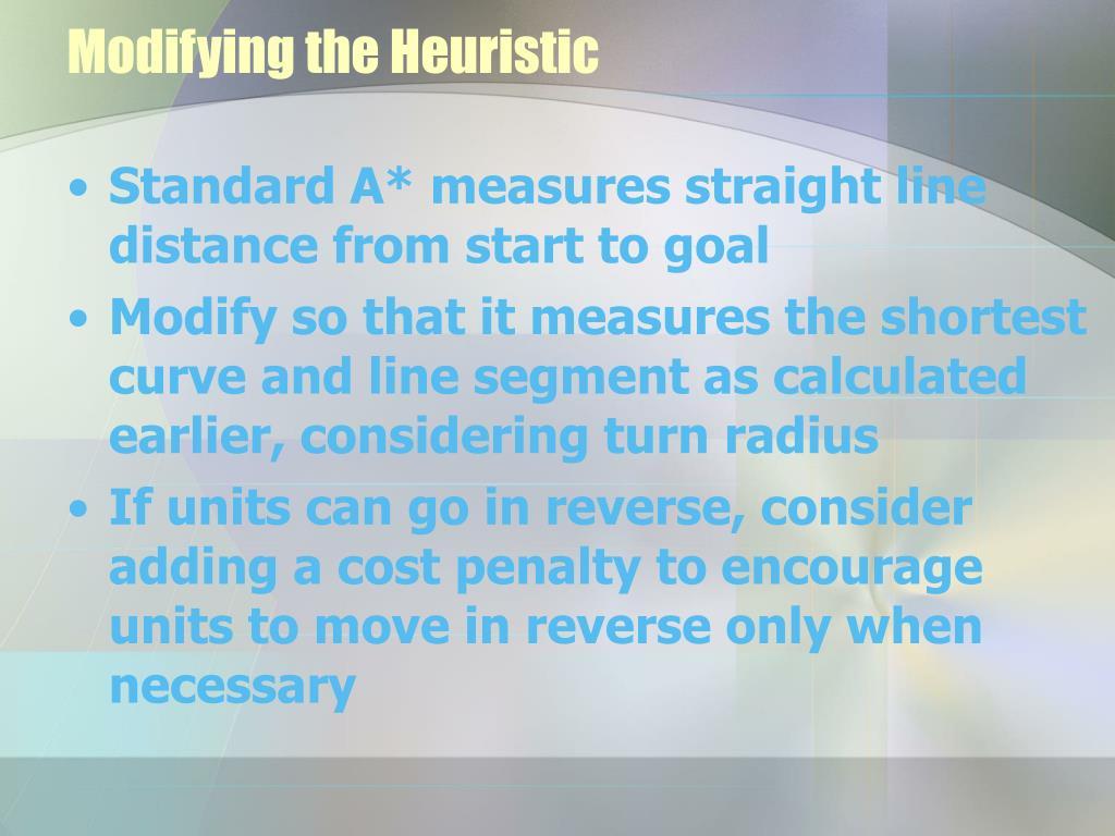 Modifying the Heuristic