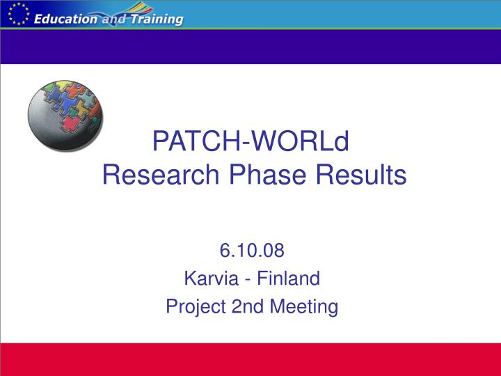 Patch world research phase results