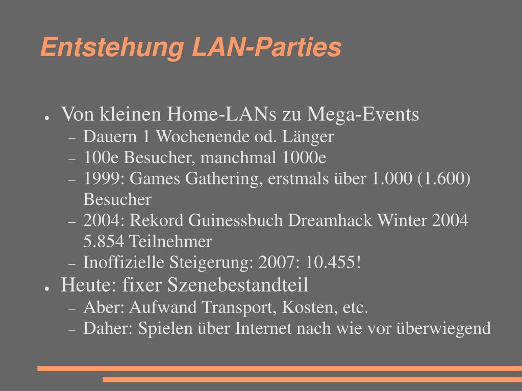 Entstehung LAN-Parties