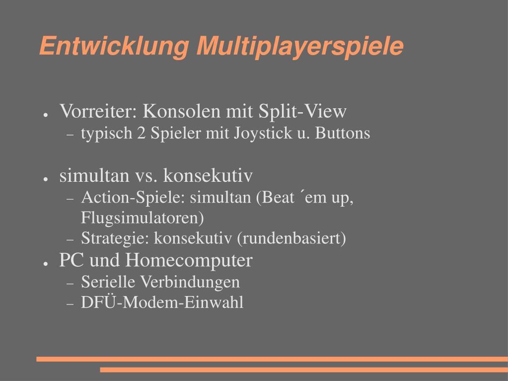 Entwicklung Multiplayerspiele