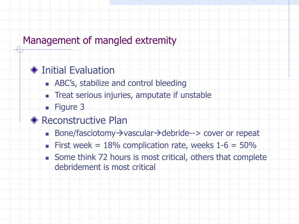 Management of mangled extremity