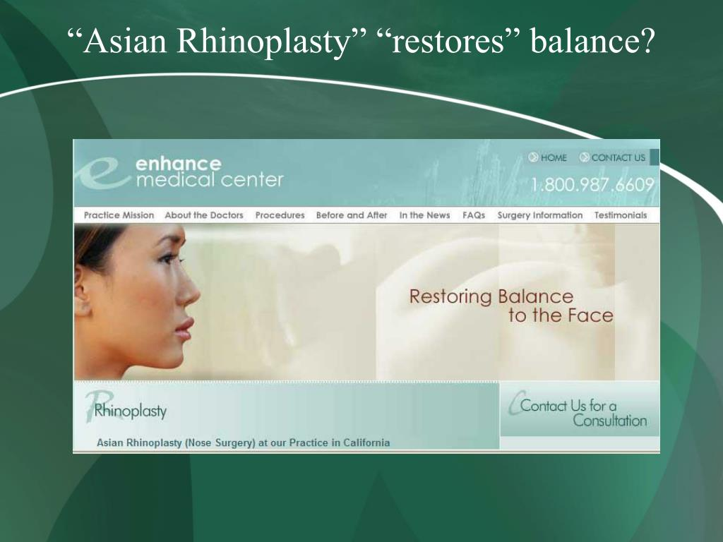 """Asian Rhinoplasty"" ""restores"" balance?"