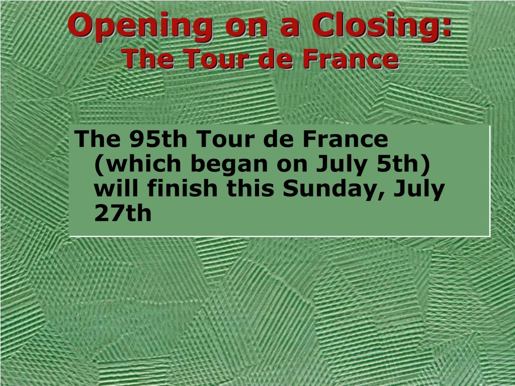 Opening on a Closing: