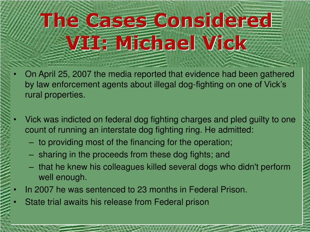 The Cases Considered VII: Michael Vick