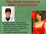 the cases considered xiii tomohiro nioka