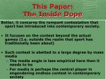this paper the inside dope10