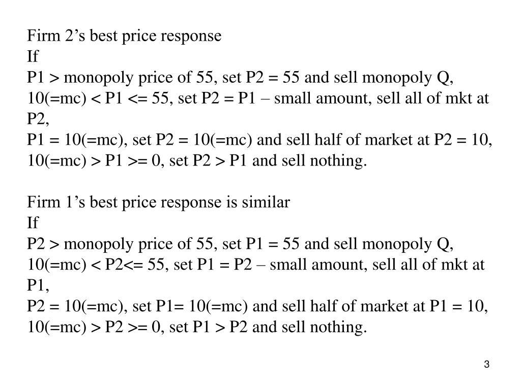 Firm 2's best price response