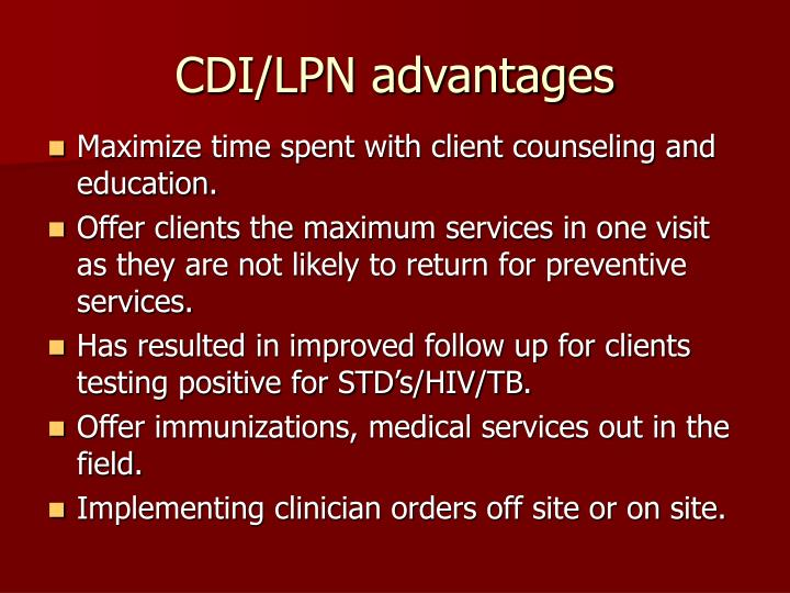 CDI/LPN advantages