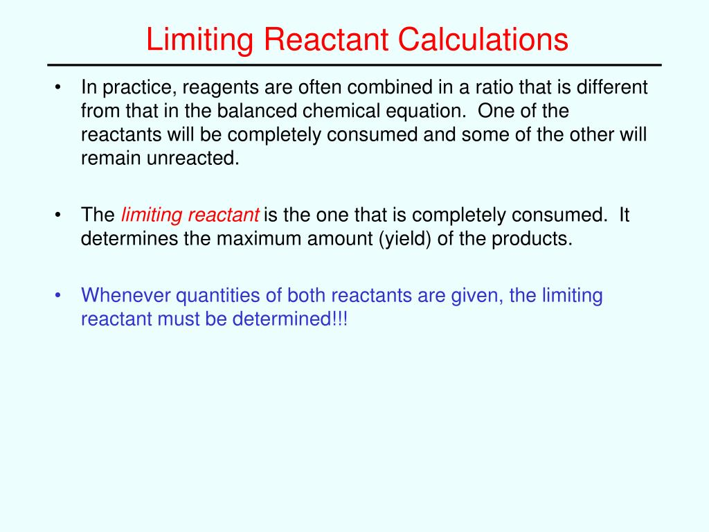 how to find the limiting reactant with ml