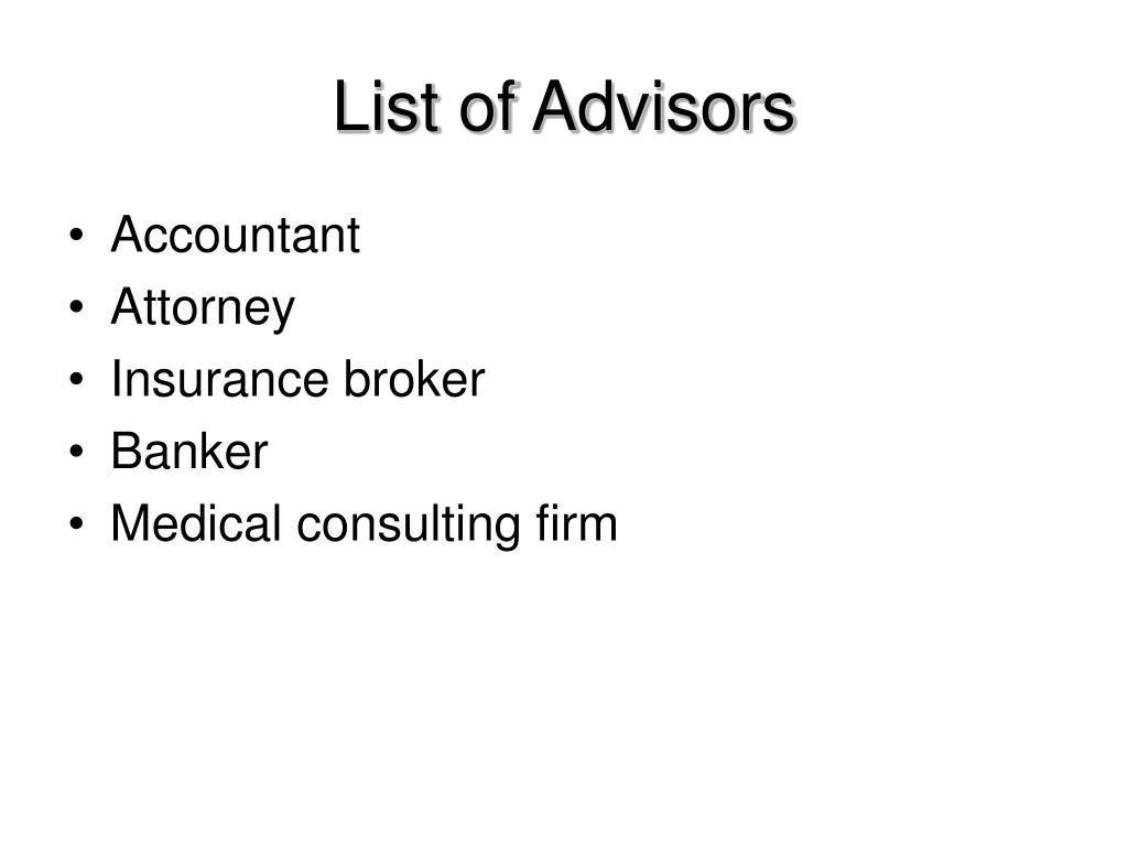 List of Advisors