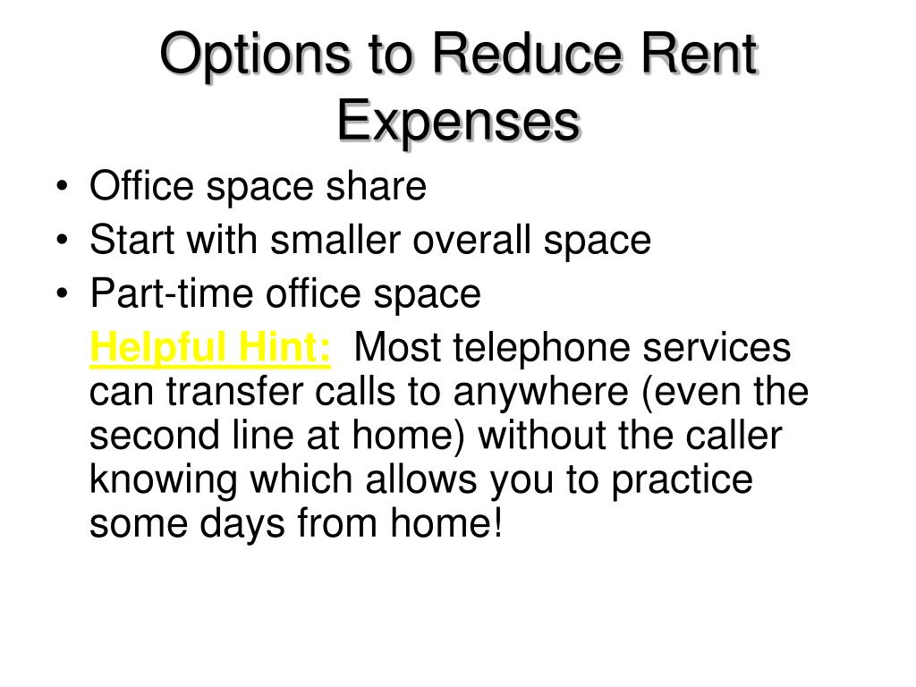Options to Reduce Rent Expenses