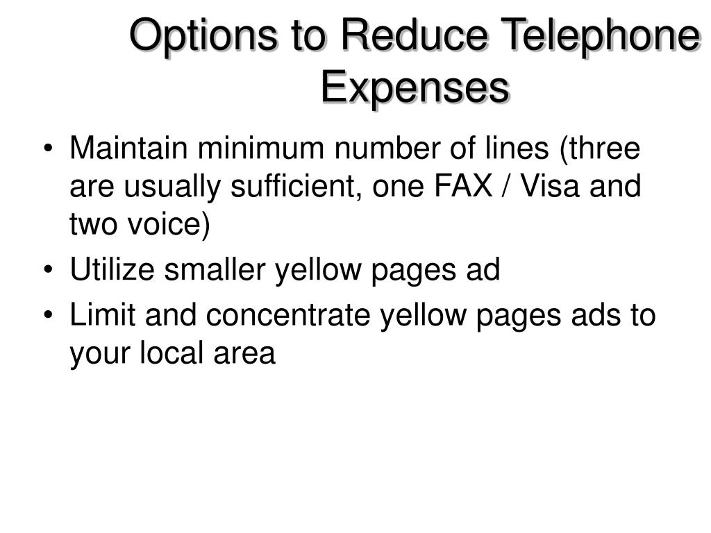 Options to Reduce Telephone Expenses