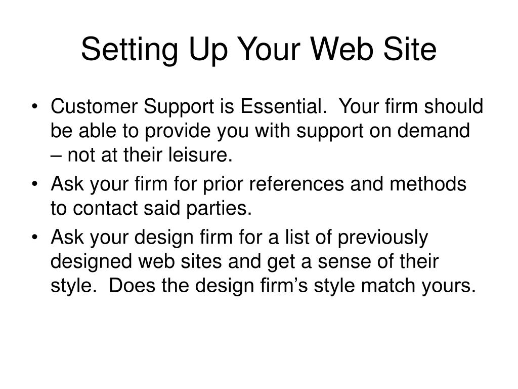Setting Up Your Web Site