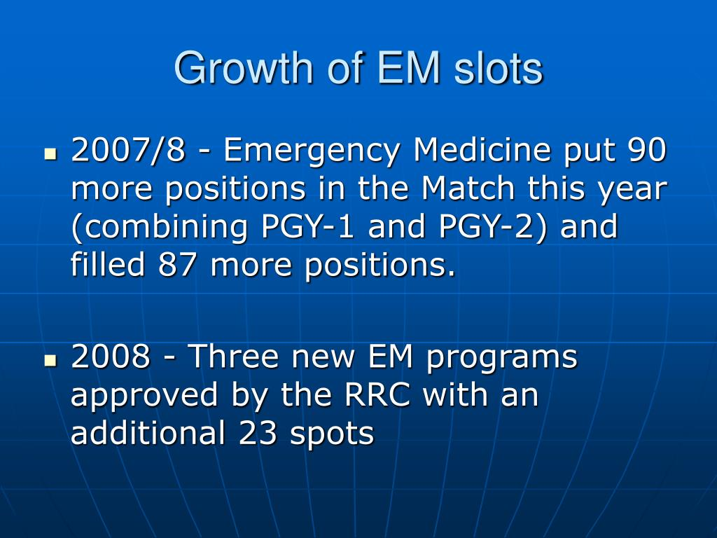 Growth of EM slots