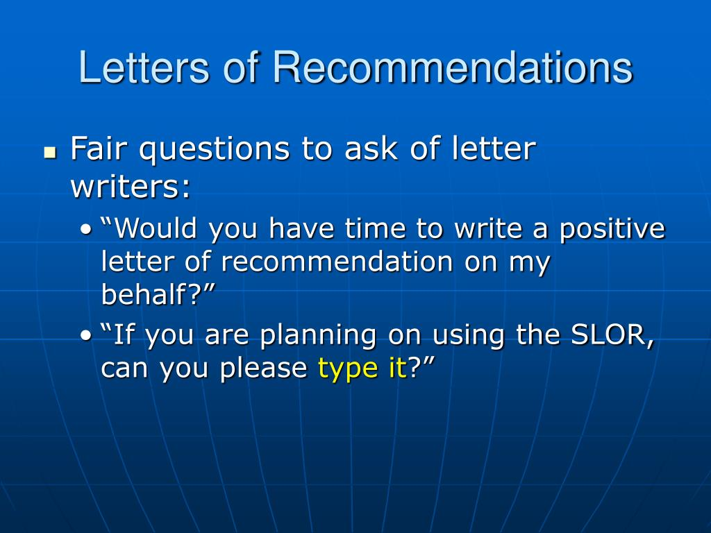 Letters of Recommendations