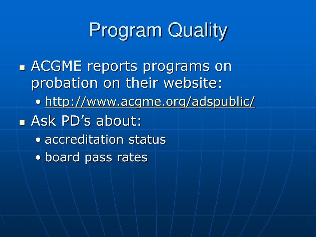 Program Quality