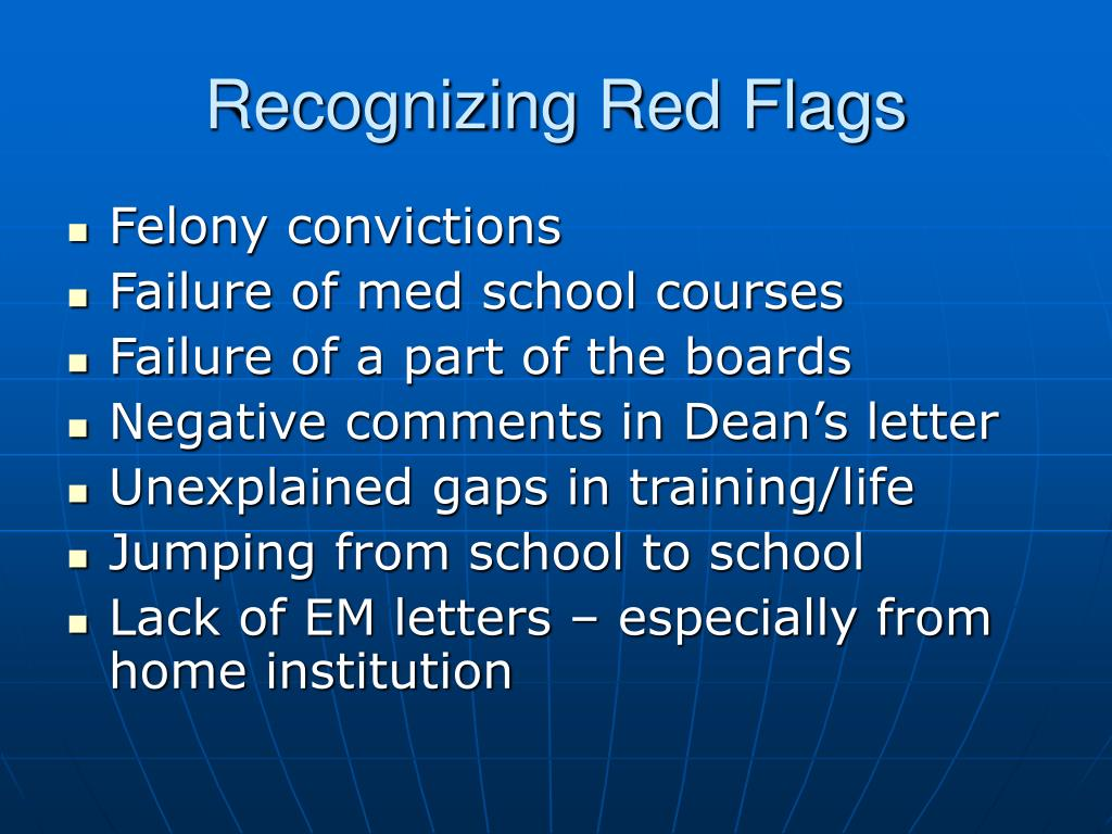 Recognizing Red Flags