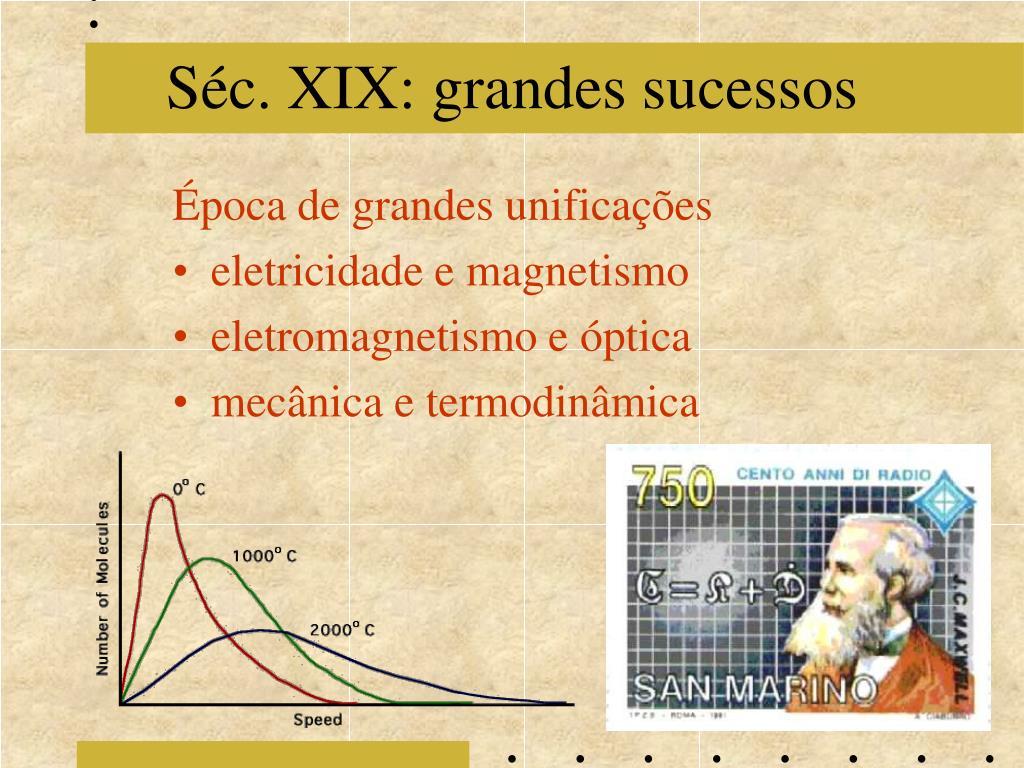 Séc. XIX: grandes sucessos