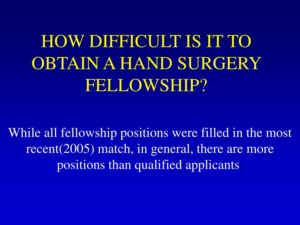 HOW DIFFICULT IS IT TO OBTAIN A HAND SURGERY FELLOWSHIP?