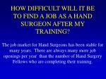 how difficult will it be to find a job as a hand surgeon after my training