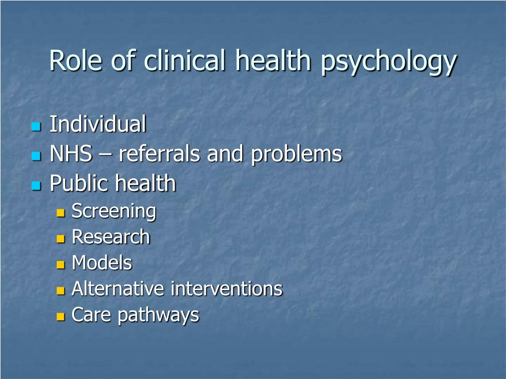 Role of clinical health psychology