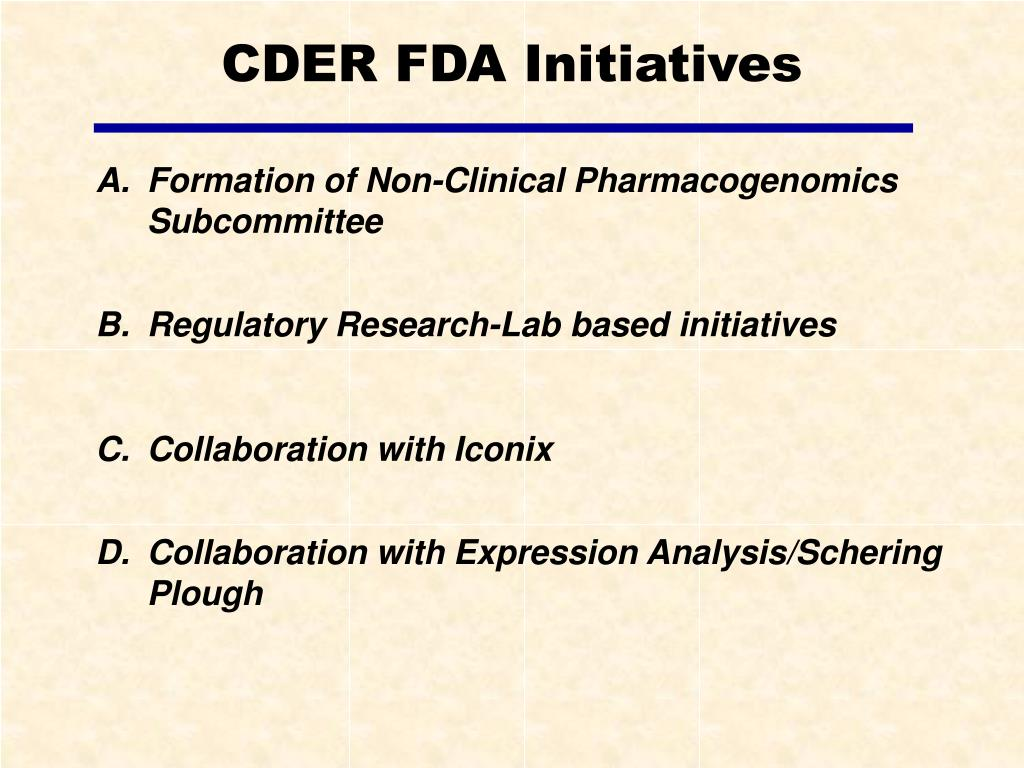 CDER FDA Initiatives