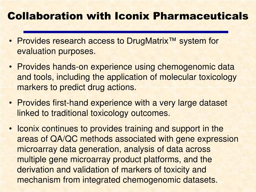 Collaboration with Iconix Pharmaceuticals