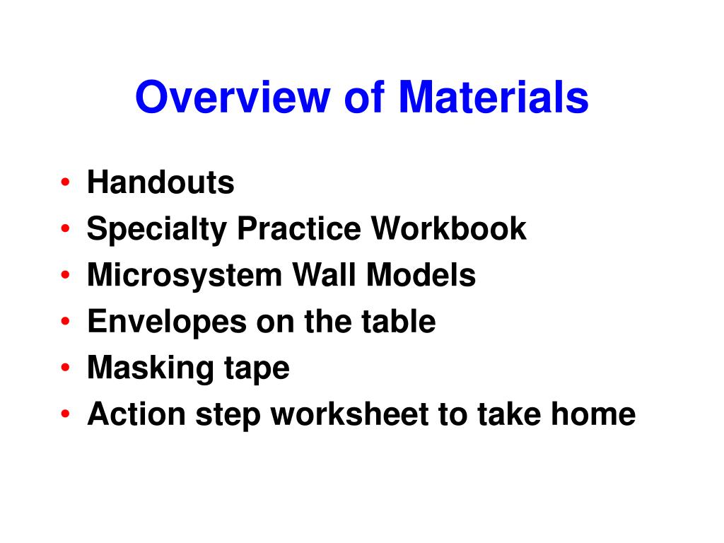 Overview of Materials