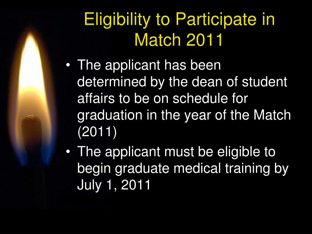 Eligibility to Participate in Match 2011