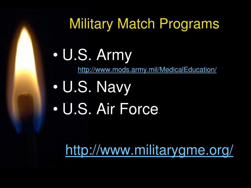 Military Match Programs