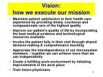 vision how we execute our mission