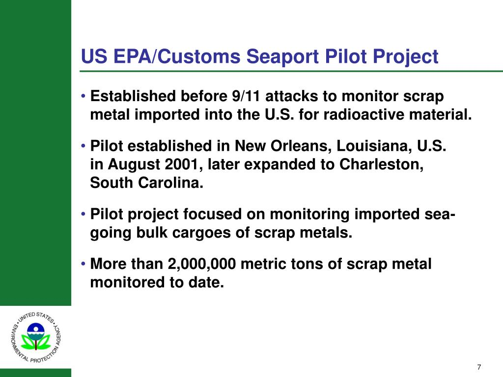 US EPA/Customs Seaport Pilot Project