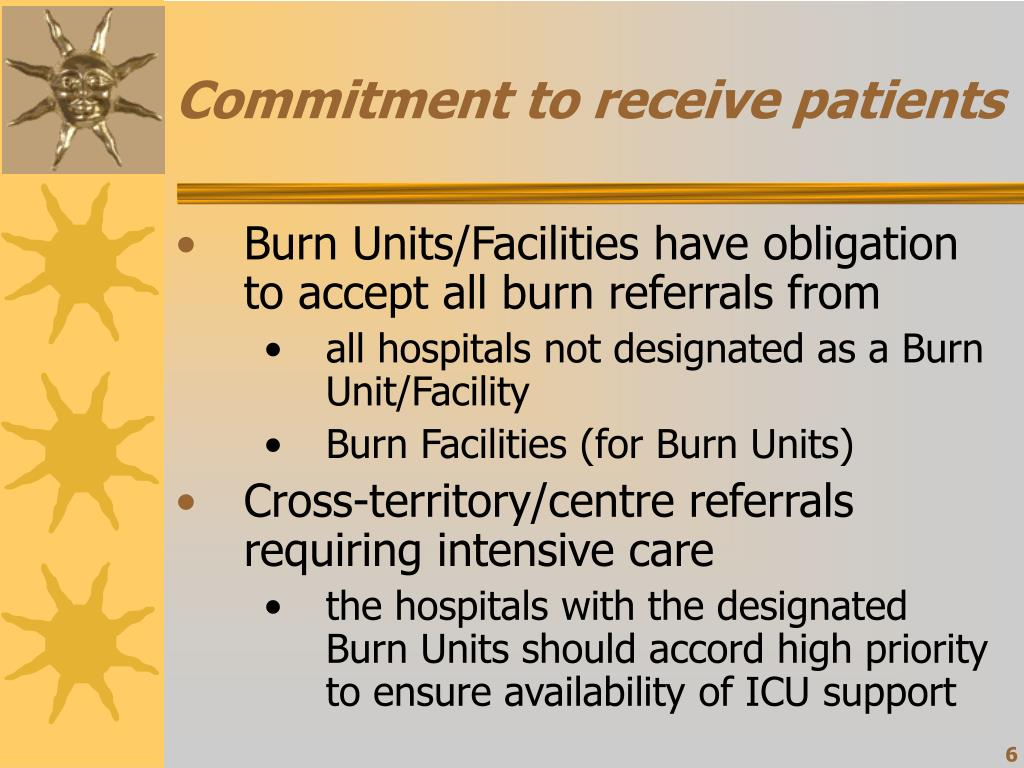 Commitment to receive patients