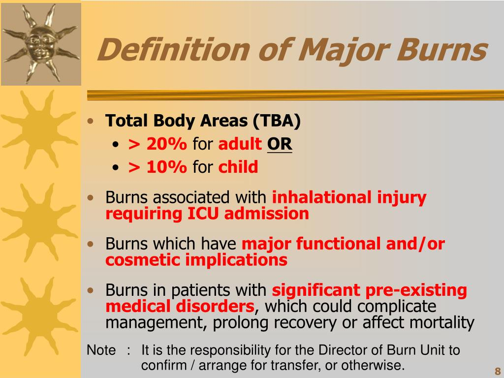 Definition of Major Burns