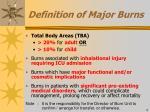 definition of major burns