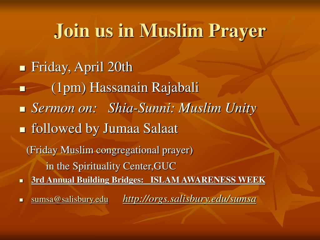 Join us in Muslim Prayer