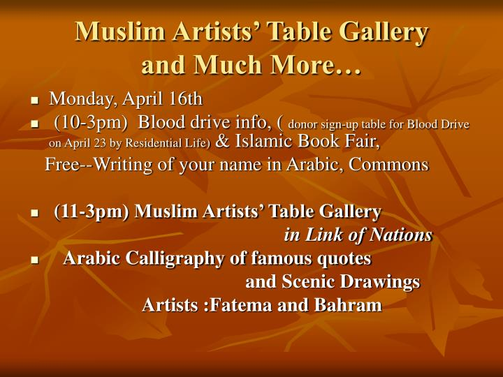 Muslim artists table gallery and much more