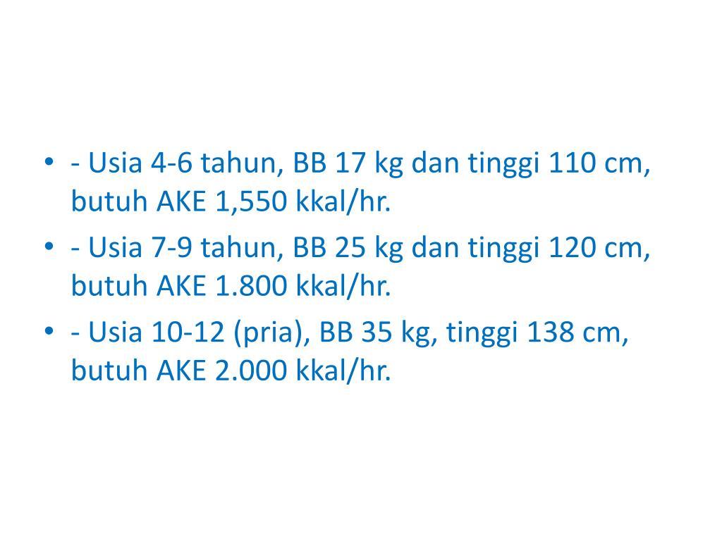 - Usia 4-6 tahun, BB 17 kg dan tinggi 110 cm, butuh AKE 1,550 kkal/hr.