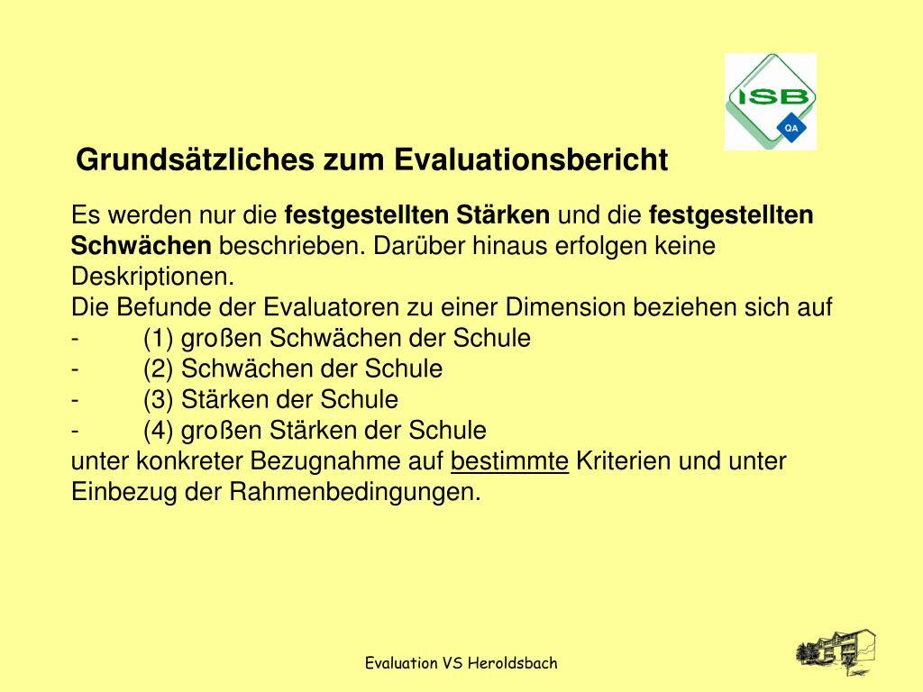 Grundsätzliches zum Evaluationsbericht