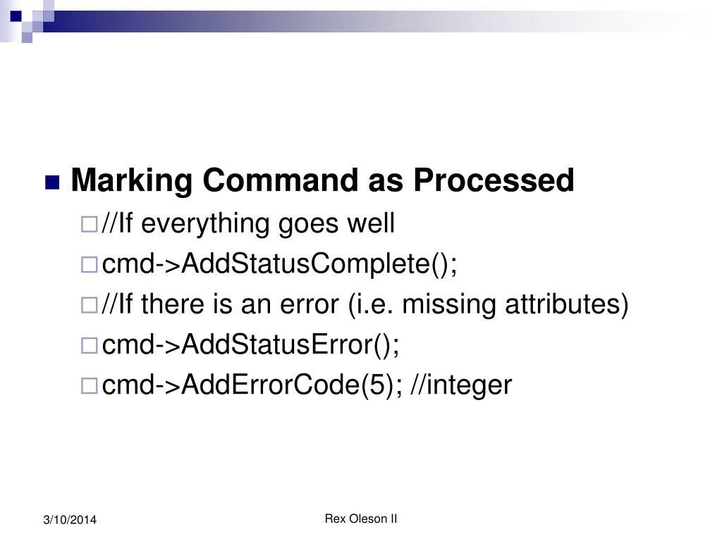 Marking Command as Processed