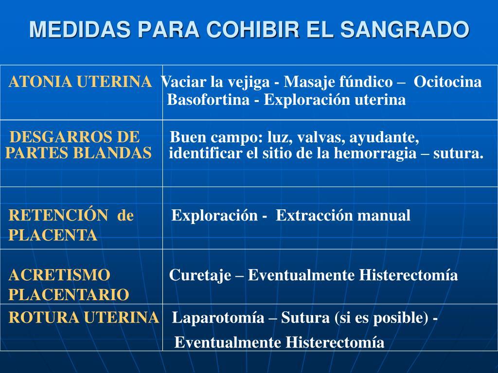 MEDIDAS PARA COHIBIR EL SANGRADO