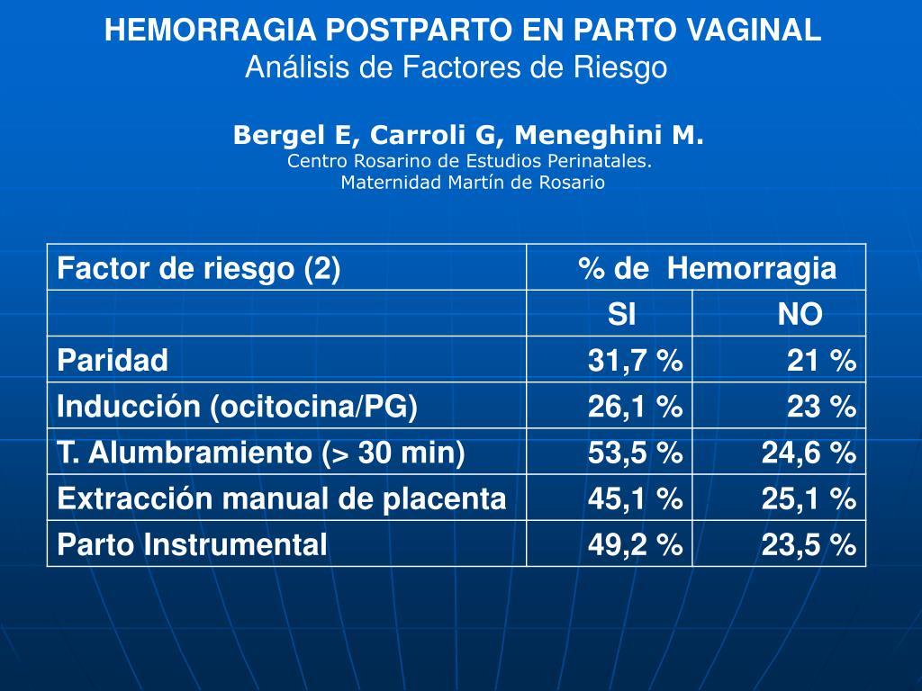 HEMORRAGIA POSTPARTO EN PARTO VAGINAL