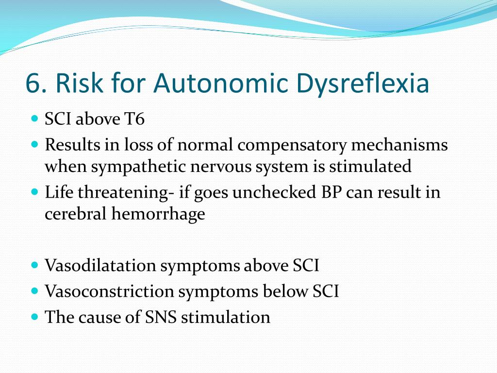 6. Risk for Autonomic Dysreflexia