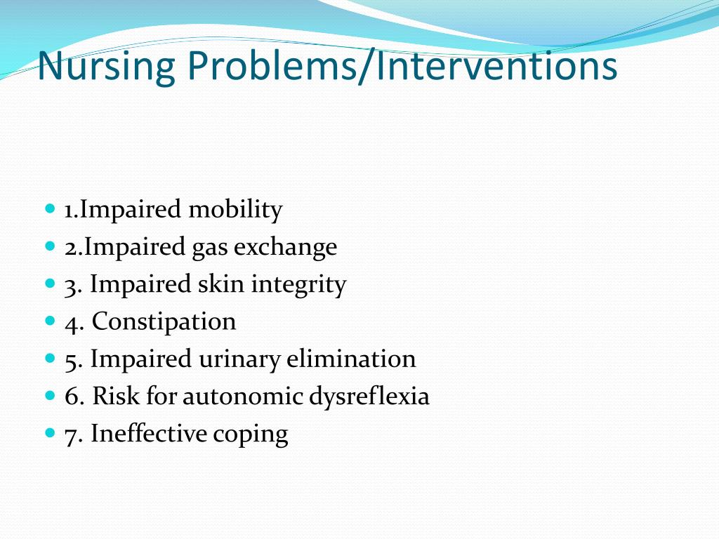 Nursing Problems/Interventions
