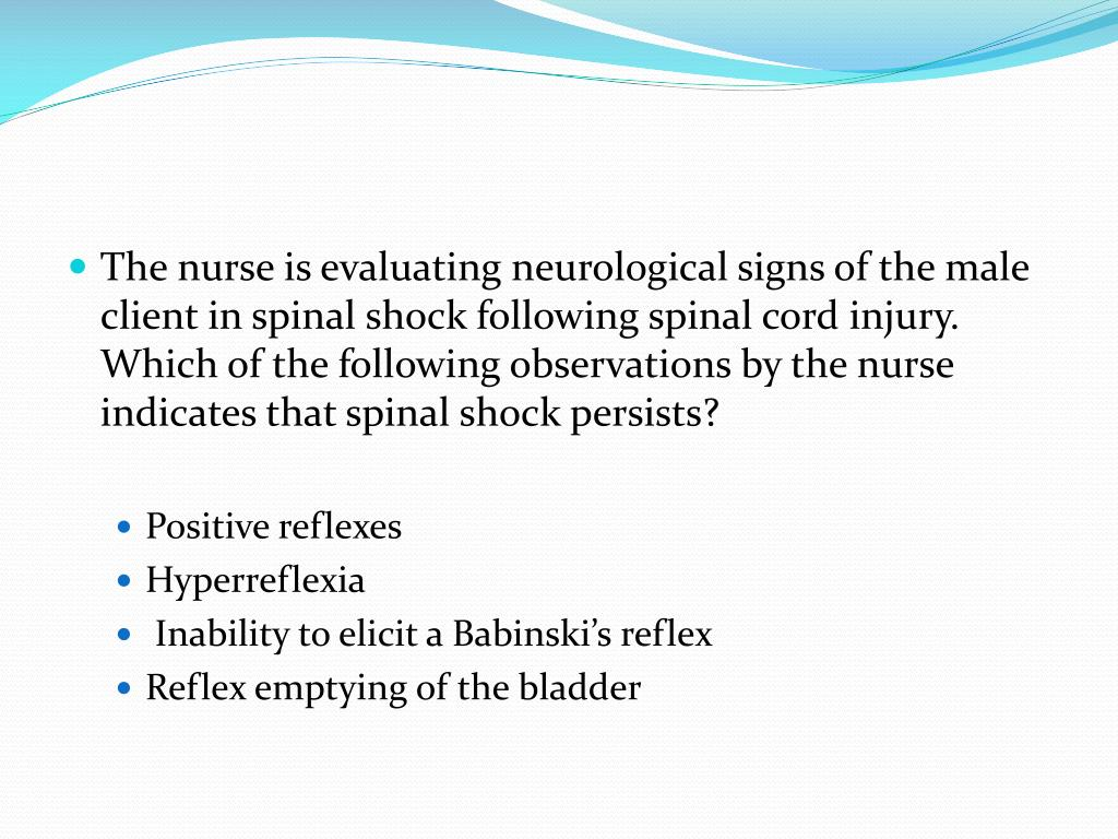 The nurse is evaluating neurological signs of the male client in spinal shock following spinal cord injury. Which of the following observations by the nurse indicates that spinal shock persists?
