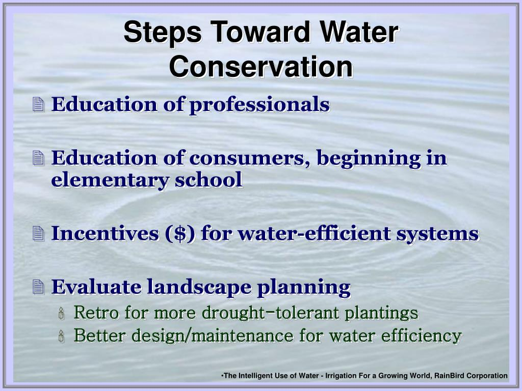 Steps Toward Water Conservation
