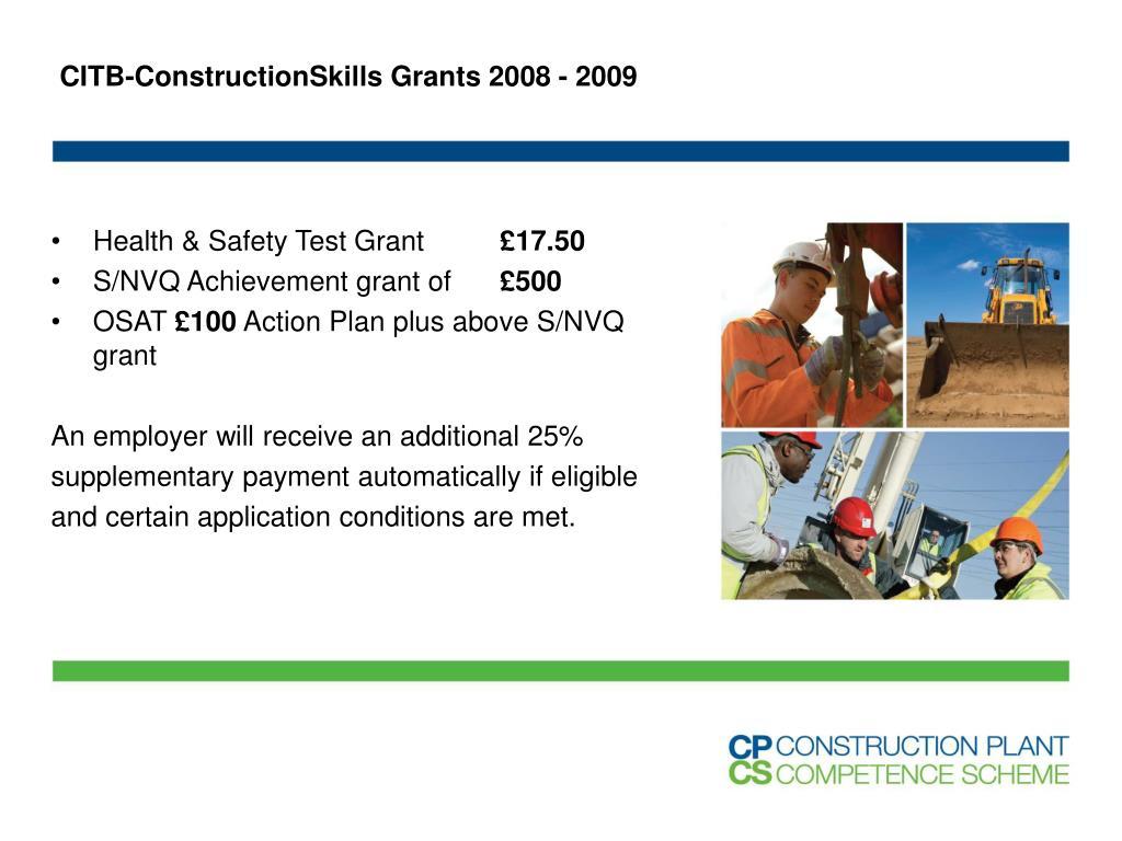 CITB-ConstructionSkills Grants 2008 - 2009