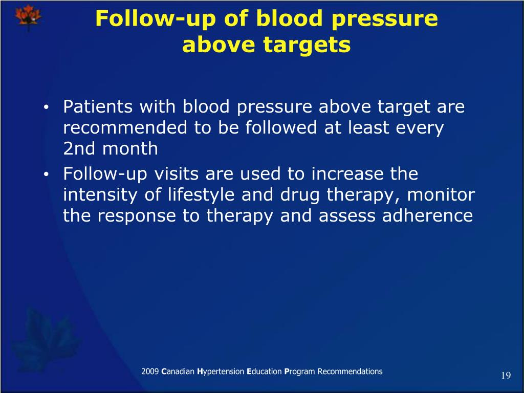 Follow-up of blood pressure