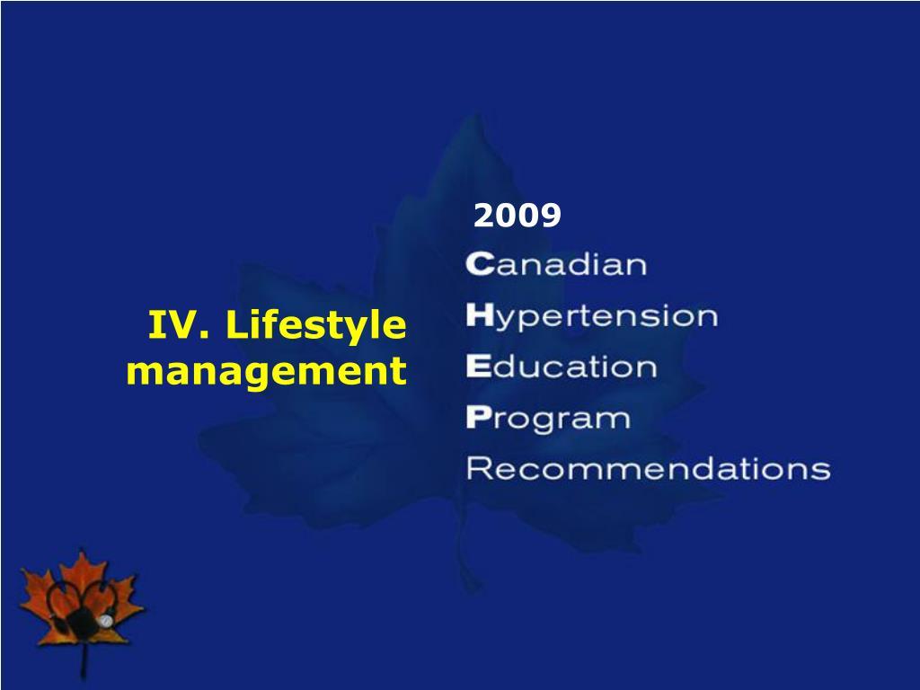 IV. Lifestyle management